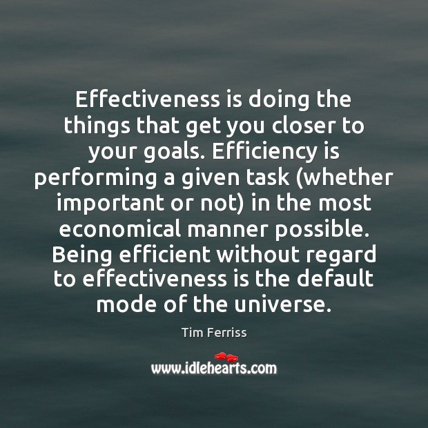Effectiveness is doing the things that get you closer to your goals. Tim Ferriss Picture Quote