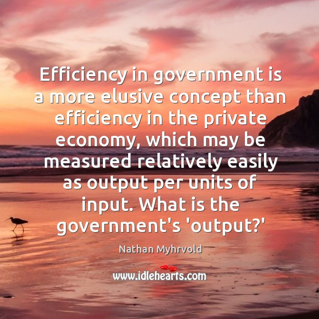 Efficiency in government is a more elusive concept than efficiency in the Image