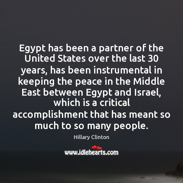 Image, Egypt has been a partner of the United States over the last 30