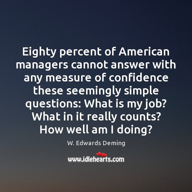 Eighty percent of American managers cannot answer with any measure of confidence W. Edwards Deming Picture Quote