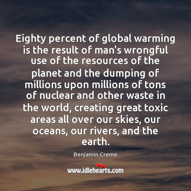 Eighty percent of global warming is the result of man's wrongful use Toxic Quotes Image