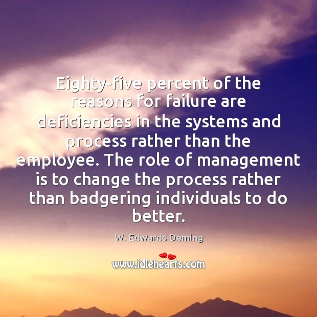 Eighty-five percent of the reasons for failure are deficiencies in the systems Management Quotes Image