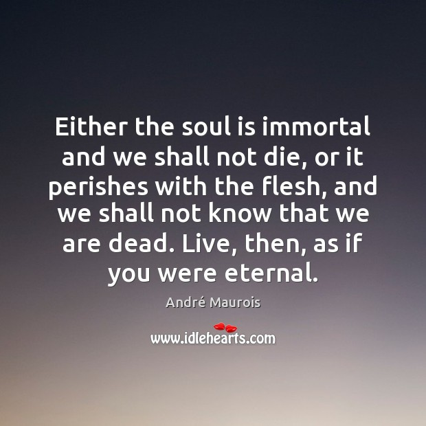 Either the soul is immortal and we shall not die, or it André Maurois Picture Quote
