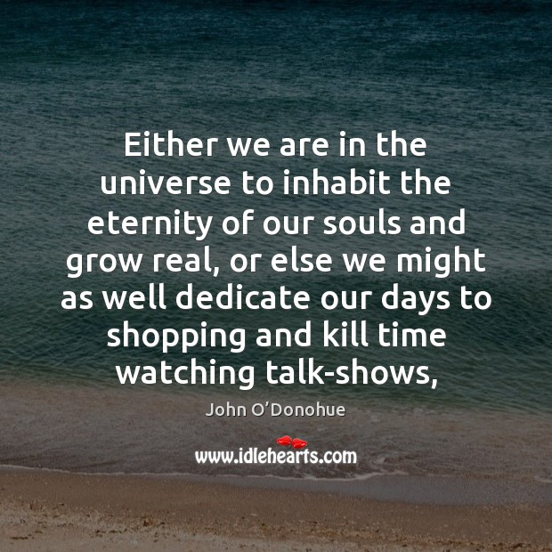 Either we are in the universe to inhabit the eternity of our John O'Donohue Picture Quote