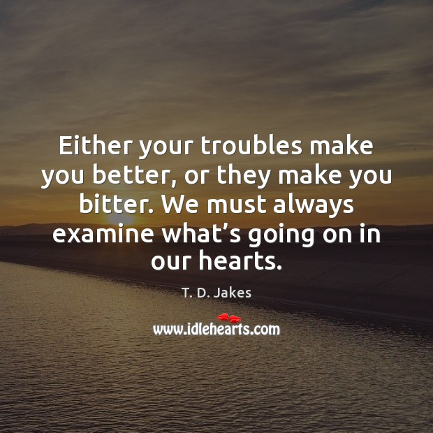 Image, Either your troubles make you better, or they make you bitter. We
