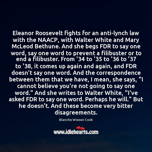 Image, Eleanor Roosevelt fights for an anti-lynch law with the NAACP, with Walter
