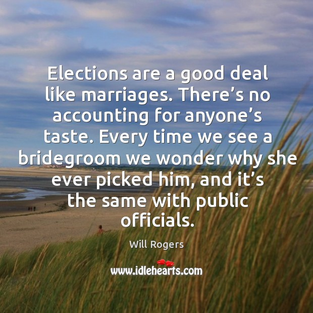 Elections are a good deal like marriages. There's no accounting for anyone's taste. Image