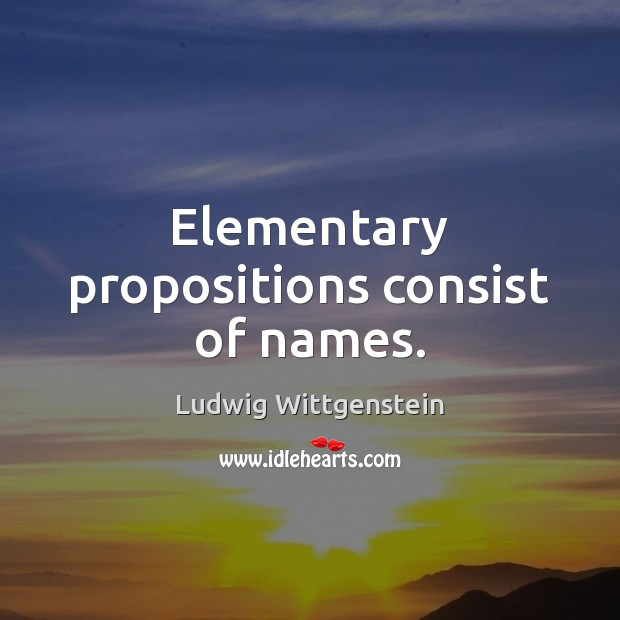 Elementary propositions consist of names. Image
