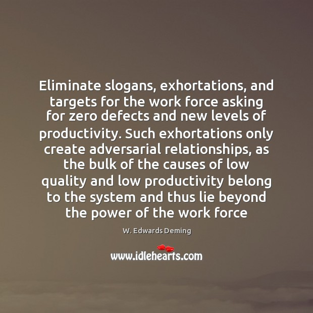 Image, Eliminate slogans, exhortations, and targets for the work force asking for zero