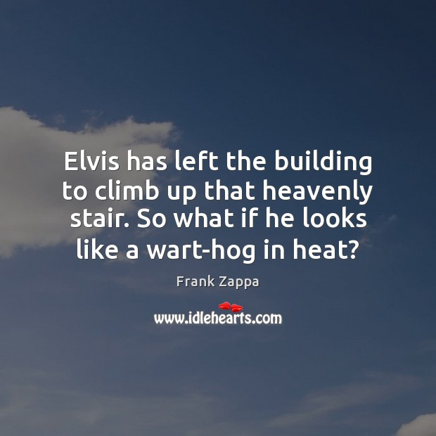 Elvis has left the building to climb up that heavenly stair. So Frank Zappa Picture Quote