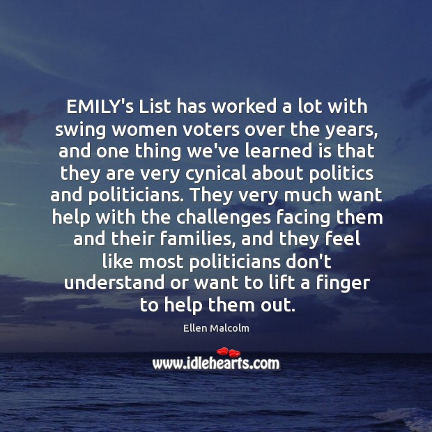 Image, EMILY's List has worked a lot with swing women voters over the