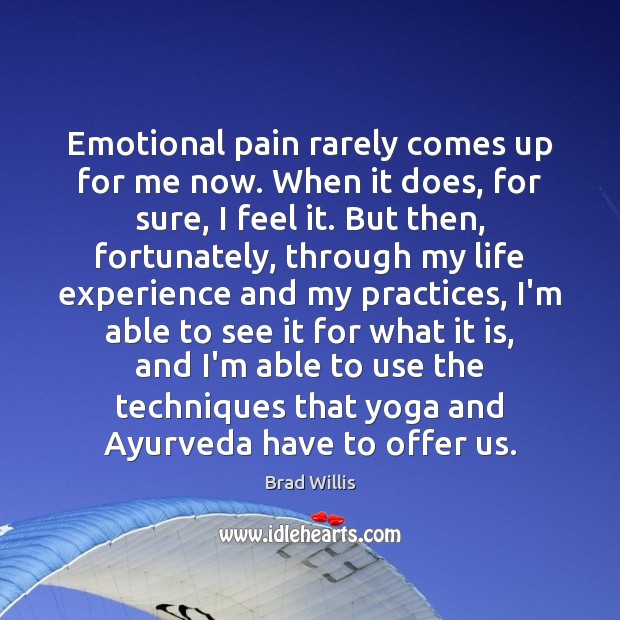 Emotional pain rarely comes up for me now. When it does, for Brad Willis Picture Quote