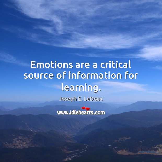 Emotions are a critical source of information for learning. Image