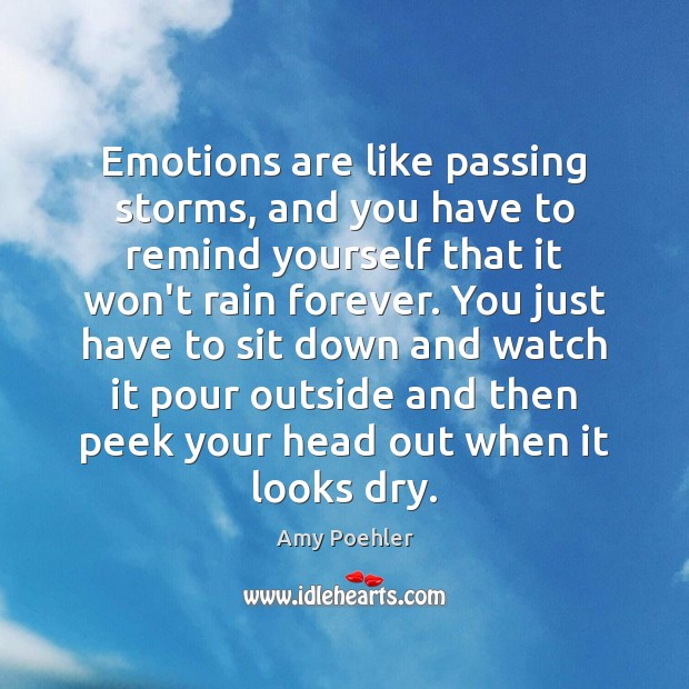 Emotions are like passing storms, and you have to remind yourself that Image