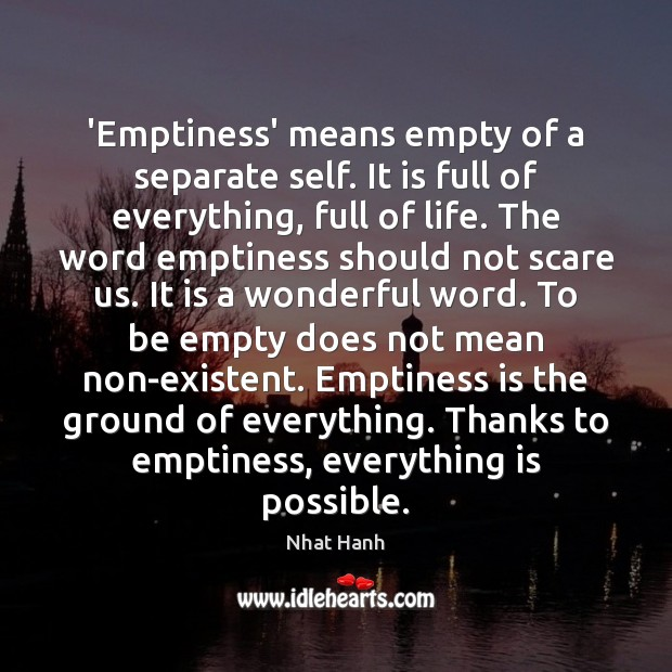 Image, 'Emptiness' means empty of a separate self. It is full of everything,