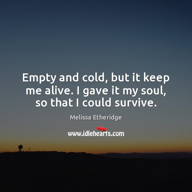 Empty and cold, but it keep me alive. I gave it my soul, so that I could survive. Melissa Etheridge Picture Quote