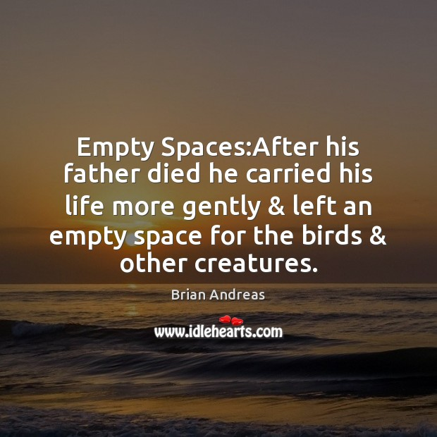 Empty Spaces:After his father died he carried his life more gently & Image