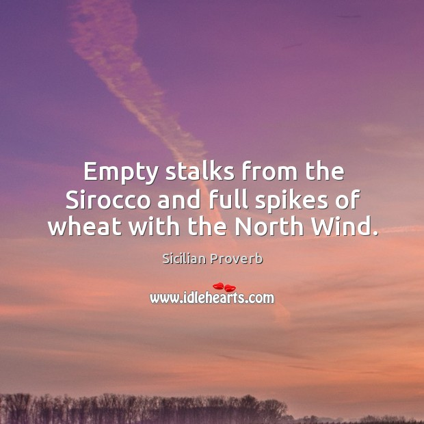 Image, Empty stalks from the sirocco and full spikes of wheat with the north wind.