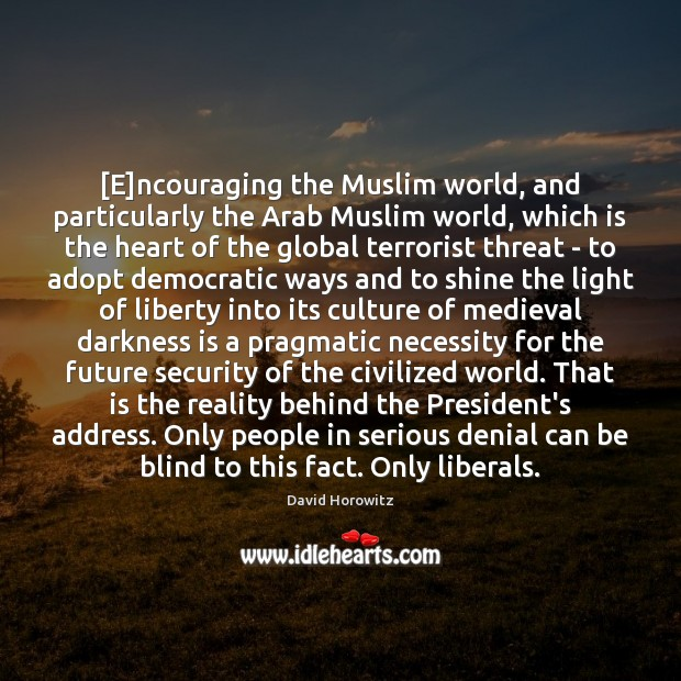 [E]ncouraging the Muslim world, and particularly the Arab Muslim world, which Image