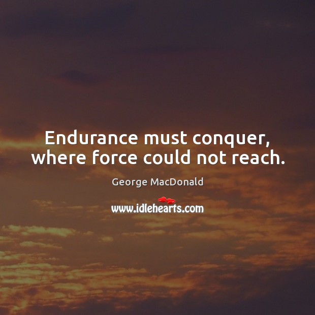Endurance must conquer, where force could not reach. Image