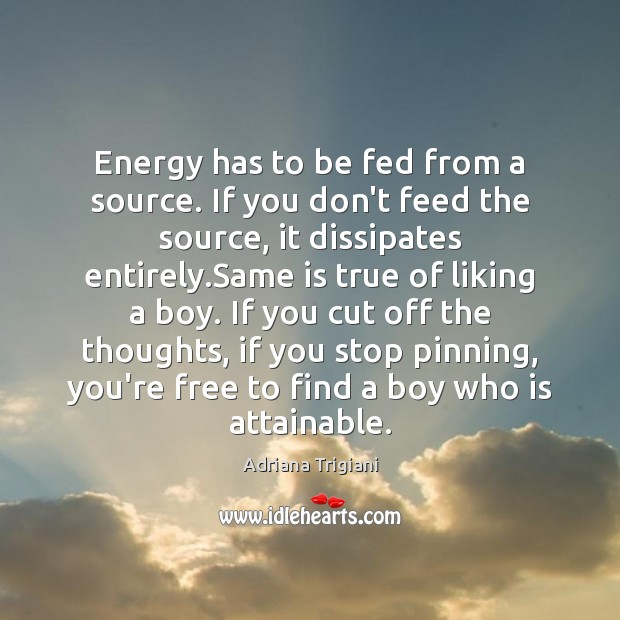 Energy has to be fed from a source. If you don't feed Adriana Trigiani Picture Quote