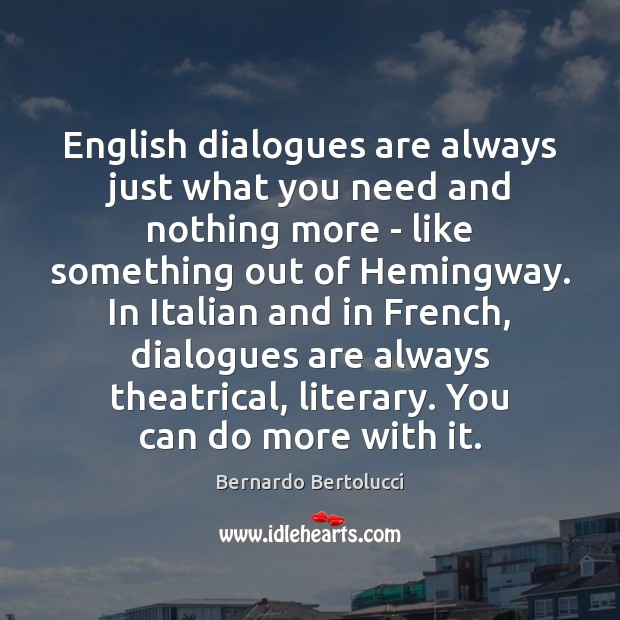 Image, English dialogues are always just what you need and nothing more –