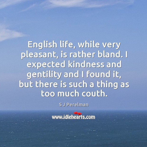 English life, while very pleasant, is rather bland. I expected kindness and Image
