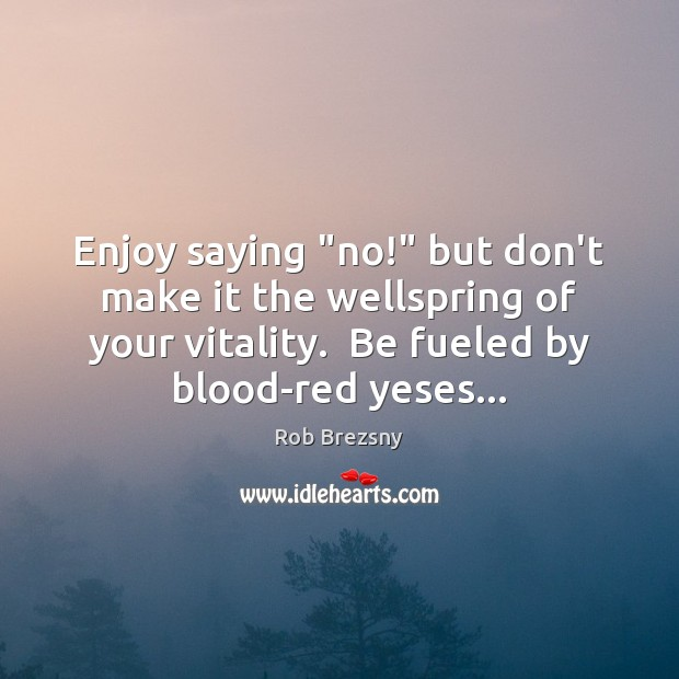 "Enjoy saying ""no!"" but don't make it the wellspring of your vitality. Rob Brezsny Picture Quote"
