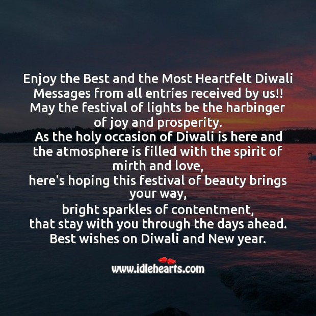 Enjoy the best and the most heartfelt diwali Diwali Messages Image