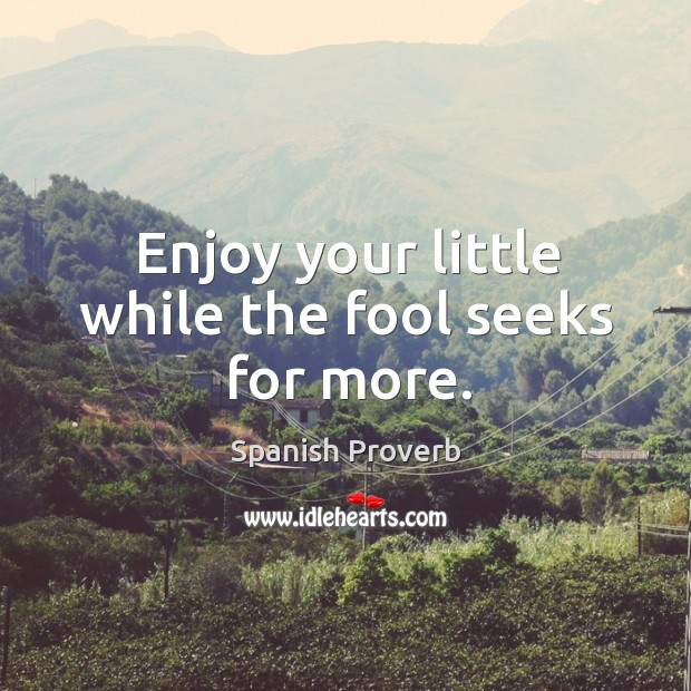 Image, Enjoy your little while the fool seeks for more.