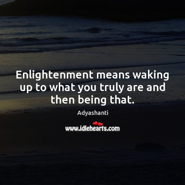 Enlightenment means waking up to what you truly are and then being that. Image