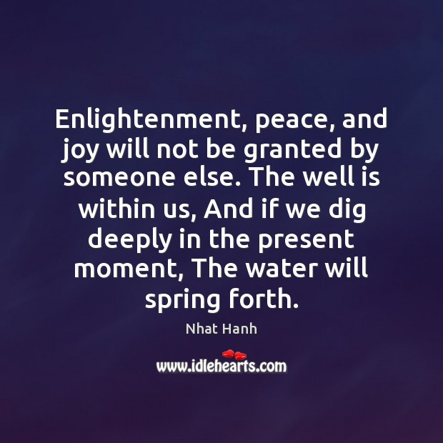 Enlightenment, peace, and joy will not be granted by someone else. The Image