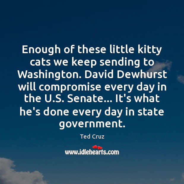 Enough of these little kitty cats we keep sending to Washington. David Ted Cruz Picture Quote