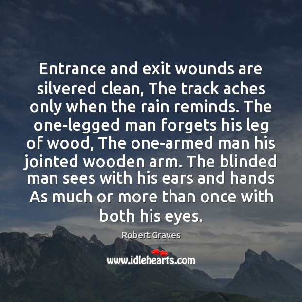 Entrance and exit wounds are silvered clean, The track aches only when Image