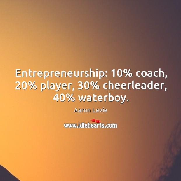 Image, Entrepreneurship: 10% coach, 20% player, 30% cheerleader, 40% waterboy.