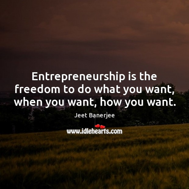 Entrepreneurship is the freedom to do what you want, when you want, how you want. Entrepreneurship Quotes Image