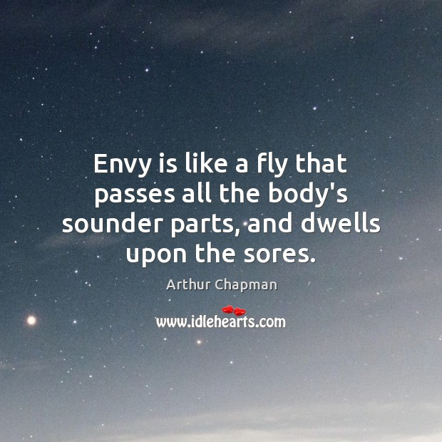 Envy is like a fly that passes all the body's sounder parts, and dwells upon the sores. Envy Quotes Image