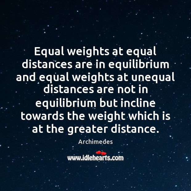 Equal weights at equal distances are in equilibrium and equal weights at Image