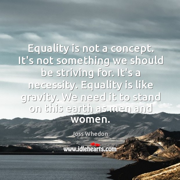 Image, Equality is not a concept. It's not something we should be striving