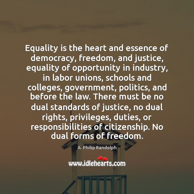 Equality is the heart and essence of democracy, freedom, and justice, equality Equality Quotes Image