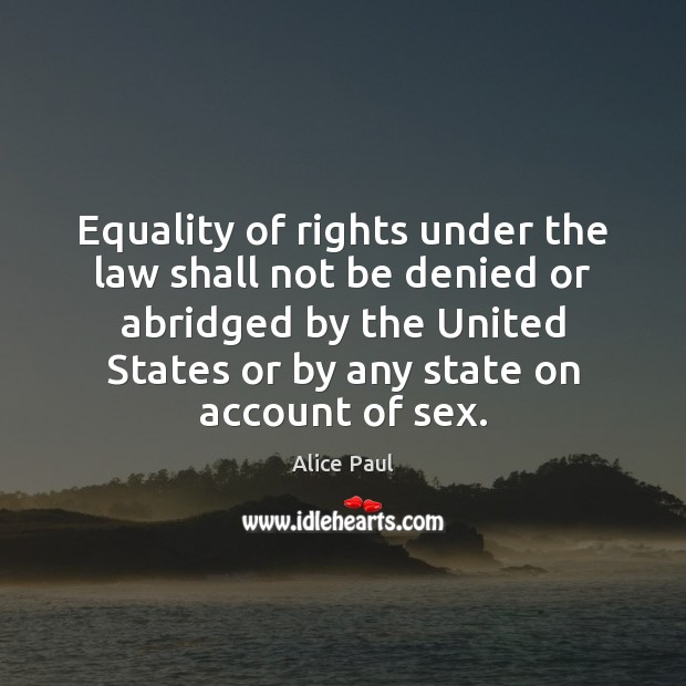 Equality of rights under the law shall not be denied or abridged Image