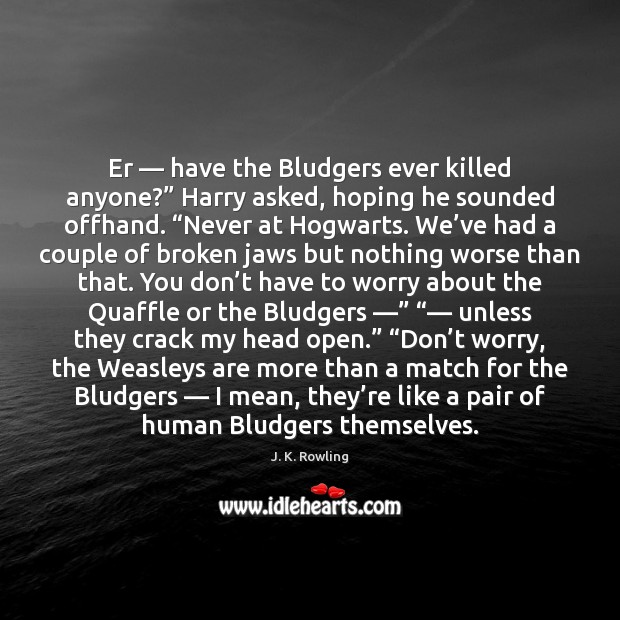 """Image, Er — have the Bludgers ever killed anyone?"""" Harry asked, hoping he sounded"""
