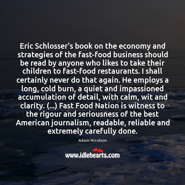 Image, Eric Schlosser's book on the economy and strategies of the fast-food business