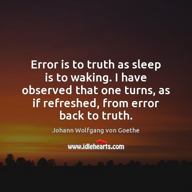 Error is to truth as sleep is to waking. I have observed Sleep Quotes Image