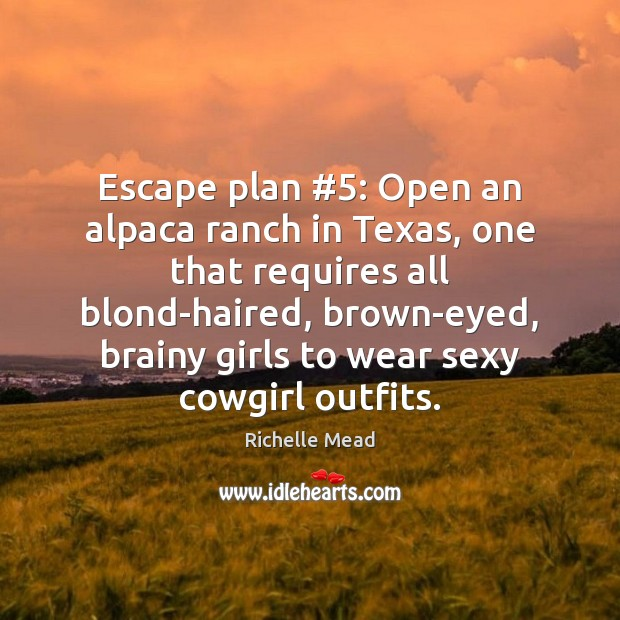Escape plan #5: Open an alpaca ranch in Texas, one that requires all Image