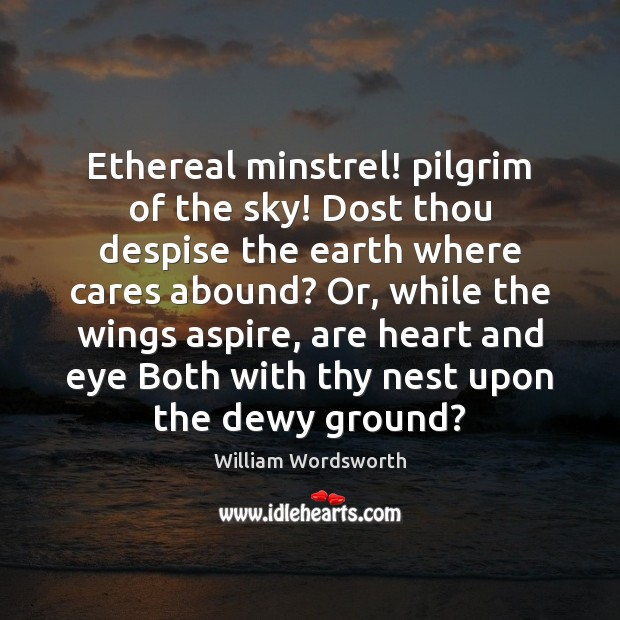 Ethereal minstrel! pilgrim of the sky! Dost thou despise the earth where Image