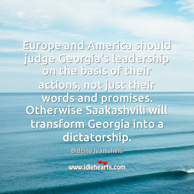 Image, Europe and America should judge Georgia's leadership on the basis of their