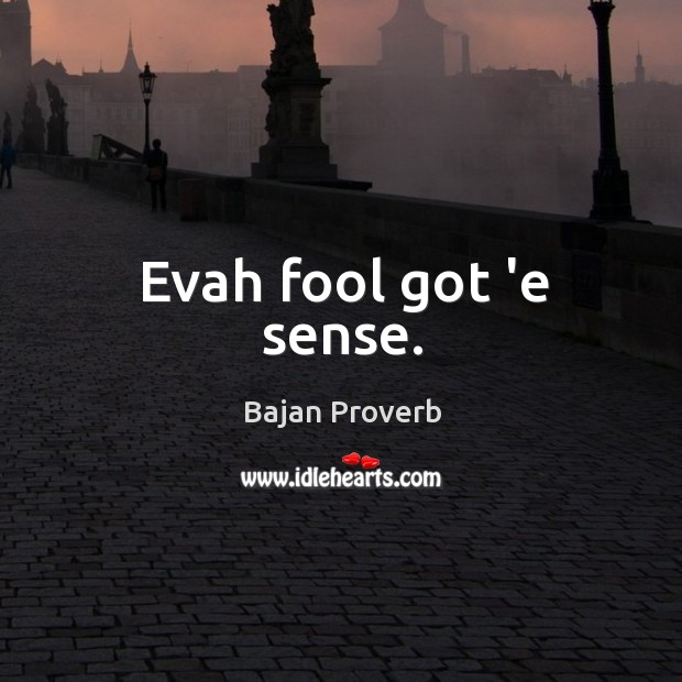 Evah fool got 'e sense. Bajan Proverbs Image