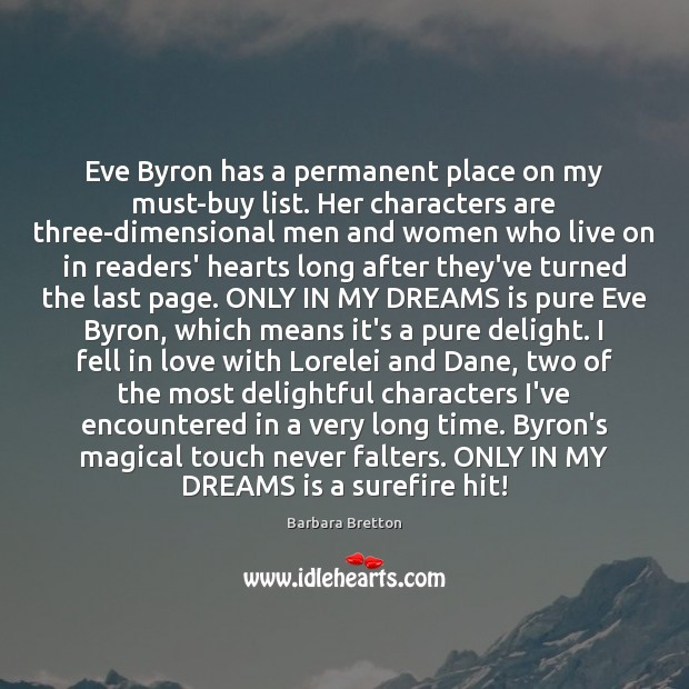 Image, Eve Byron has a permanent place on my must-buy list. Her characters