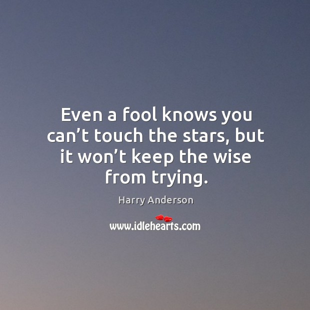 Even a fool knows you can't touch the stars, but it won't keep the wise from trying. Image
